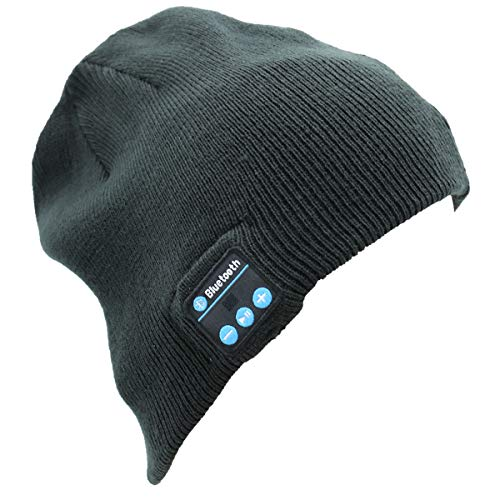 Adofect Bluetooth Beanie Hat, Unisex Winter Outdoor Knit Cap with Built-in Wireless Stereo Headphone Headset Earphone Speaker Mic for All Bluetooth Cell Phones, Tablets & Laptops, Heather Grey