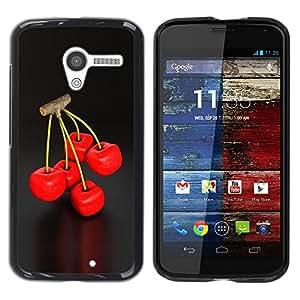 LECELL -- Funda protectora / Cubierta / Piel For Motorola Moto X 1 1st GEN I XT1058 XT1053 XT1052 XT1056 XT1060 XT1055 -- Cool Cherry Berry Twig Red Delicious Nature --