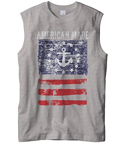 Cybertela Mens American Made Faded Anchor Flag Sleeveless T-Shirt