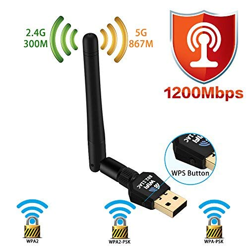 1200Mbps Wireless USB WiFi Adapter – Dual Band Wireless WiFi Adapter (2.4G/300M+5G/867M) Wireless Adapter, WiFi Adapter for PC/Laptop/Desktop, Support Win10/8.1/8/7/XP/Linux/Mac OS