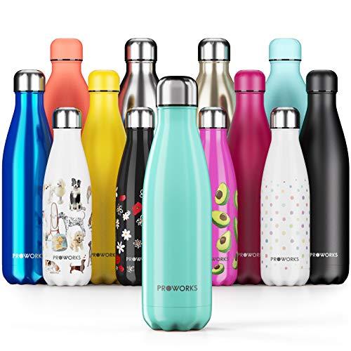 Proworks Botellas de Agua Deportiva de Acero Inoxidable | Cantimplora Termo con Doble Aislamiento para 12 Horas de Bebida Caliente y 24 Horas de Bebida Fria - Libre de BPA - 500ml – Verde