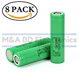 Samsung High Drain INR18650-25R 20A 2500mAh Rechargeable Flat Top 3.7V Battery, (8 Pcs) by M&A BD Electronics