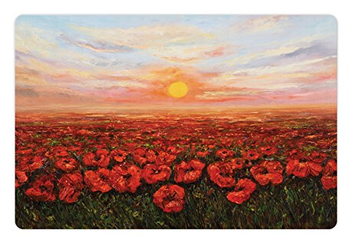 Lunarable Flower Pet Mat for Food and Water, Wild Opium Poppy with Petals Field in Front of Sunset Picture, Non-Slip Rubber Mat for Dogs and Cats, 18