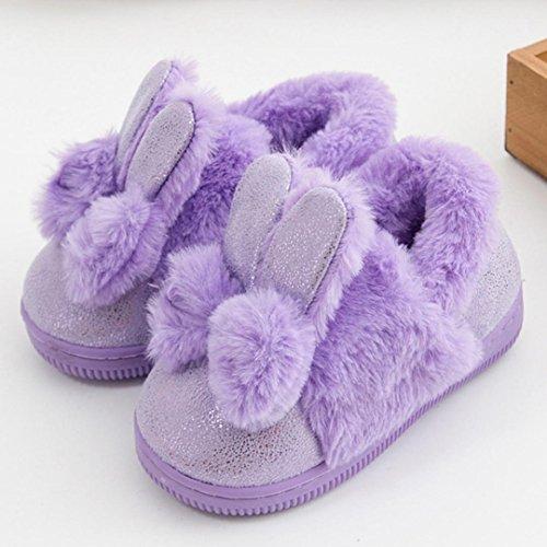 Longra Baby Kinder Mädchen Stiefel Schneestiefel Mädchen Warm Winterschuhe mit Bowknot Kaninchen Ohr Kinder weiche Sohle Schuhe Krippeschuhe Kinder Schneestiefel(0-8Jahre) Purple