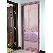 "Dingoo 35.4"" x 82.7"" Summer Prevent Mosquito Curtain Mesh Net Screen Door Magnetic Stripe Curtain (Pink)"