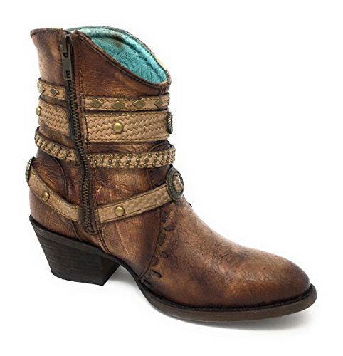 Corral Women's Tobacco & Studded Harness Ankle Boots C3196