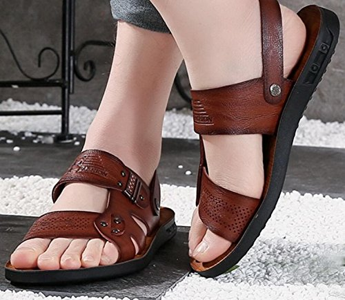Vocni Mens Open Toe Casual Comfort In Pelle Sandali Sandali Uomo In Pelle Da Uomo Sandali Open Toe Marrone