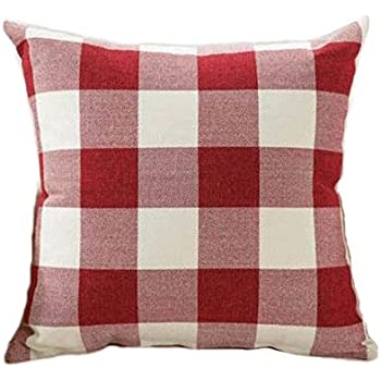 Red White Christmas Buffalo Checkers Plaids Linen Square Throw Pillow Cover Love Cushion Case Valentines Day Decorations for Sofa 18 x 18 Inch