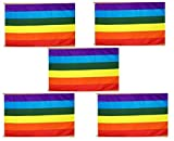 3×5 Foot Rainbow Flag Gay Pride Lesbian Peace LGBT Flag Pack of 5