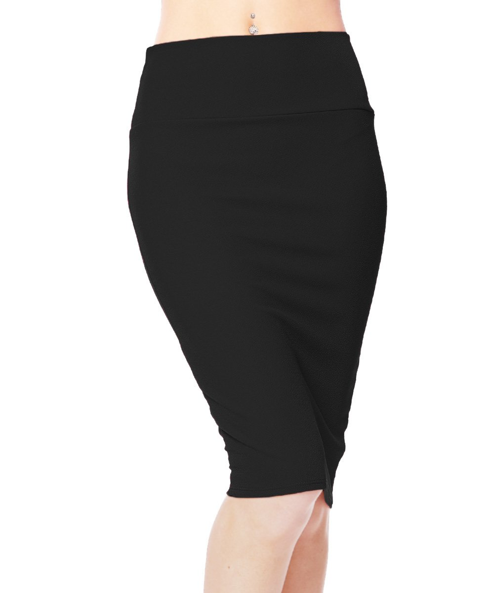 Urban CoCo Women's High Waist Stretch Bodycon Pencil Skirt (XL, Black)