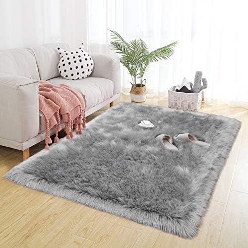 BENRON Faux Sheepskin Fur Super Soft Living Room Rug