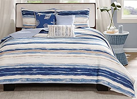 Madison Park MP13-2425 Marina 6 Piece Quilted Coverlet Set, Full/Queen, Blue