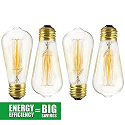 4 Pack Edison Bulb 60 Watt - ST64 - Squirrel Cage Filament - Dimmable, Edison Style Vintage Light Bulbs
