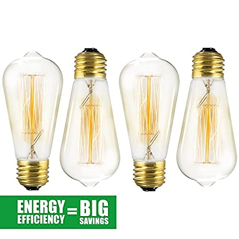 Edison Bulb 4 Pack - ST64 - Squirrel Cage Filament - Dimmable, Edison Style Vintage Light Bulbs - Yellow Cfl