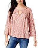 Lucky Brand Women's Ditzy Lace Mix Peasant Top Rose Multi Small