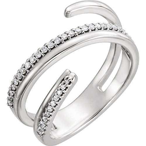 - 14kt White 1/6 CTW Diamond Negative Space Ring Right Hand Twist Ring - Size 8.5