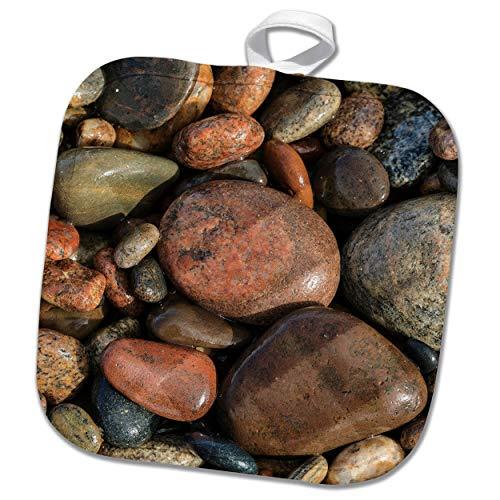 3dRose Danita Delimont - Natural Patterns - Smooth granite pebbles on beach of Lake Superior, Michigan. - 8x8 Potholder (phl_314858_1)
