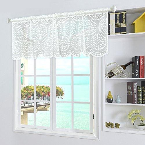 Yunt Window Curtain Valance, Embroidery Semi Lace Curtain for Kitchen Balcony Cafe Dining Room Window,17.72 ×59.06in