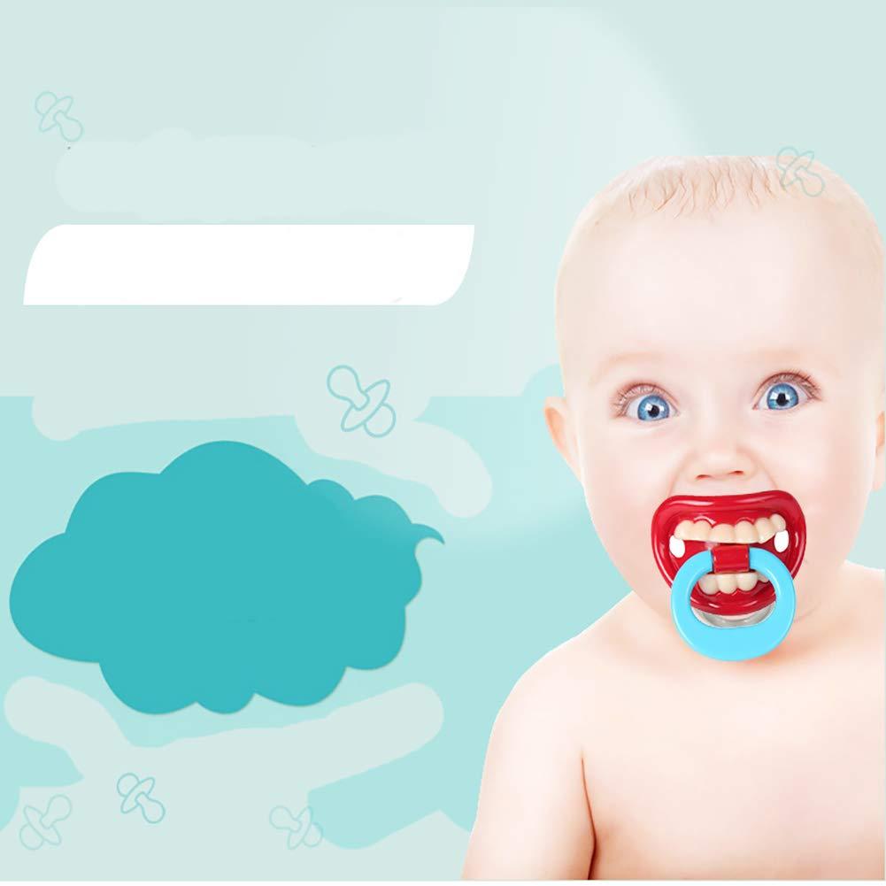 Silicona divertido bebé chupete mordedores apaciguar juguete niño pequeño regalo de Navidad bebé chupete chiste broma 1pc (rojo)