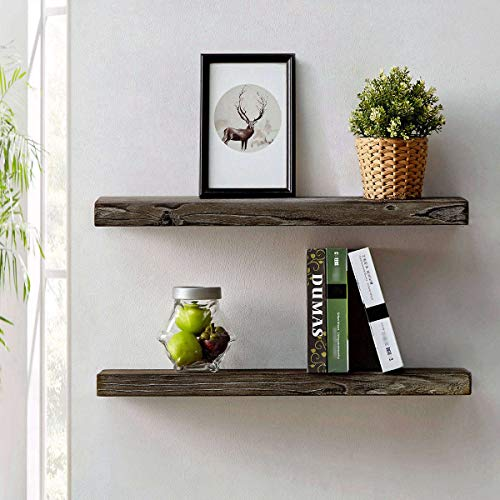 HSH Rustic Wood Floating Shelf, Rugged Reclaimed Solid Wooden Wall Shelf, Farmhouse Industrial Vintage Mount Shelving, Natural Pine, 30 x 7.1 Inch, Set of 2 (Wide Inch Shelf 30)