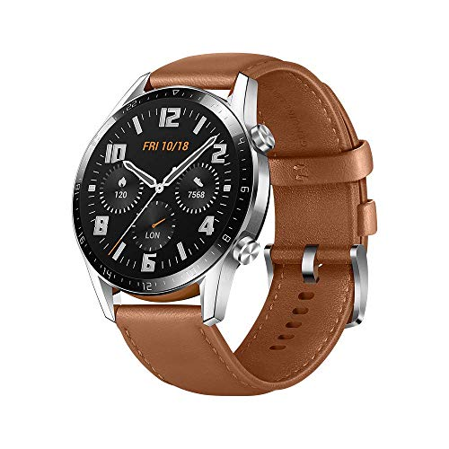 HUAWEI Watch GT 2 2019 Bluetooth SmartWatch, Longer Lasting 2 Weeks Battery Life, Waterproof, Compatible with iPhone and Android, 46mm No Warranty International Version (Pebble Brown)