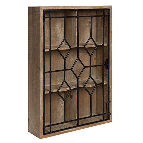 - Kate and Laurel Megara Wooden Wall Hanging Curio Cabinet for Open Storage with Decorative Black Iron Door, Rustic Brown