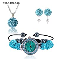 Wonderful Dream New 10Mm Balls Watch Shamballa Set Crystal Earrings/Crystal Necklace Pendant/Bracelet Jewelry Sets Mix Colors Options Shlstumi yjaliBracelets782