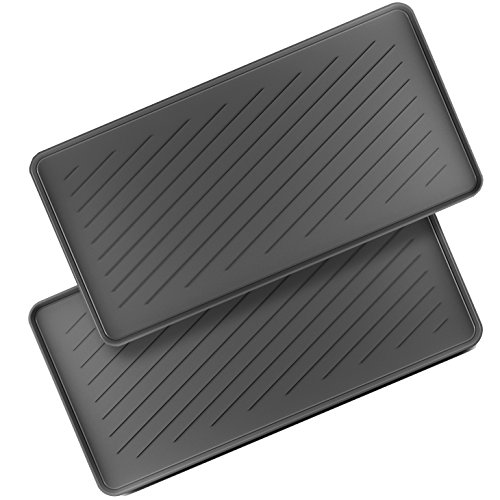 (Home Intuition Boot Tray Multi Purpose All Weather Black Rubber Indoor Outdoor, 2 Pack)