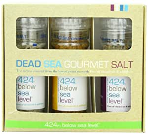 Salt 424 Three Grinder Pack 100% Organic Salts, Garlic with Pepper, Smoked and Wild Fire, 25.11 Ounce