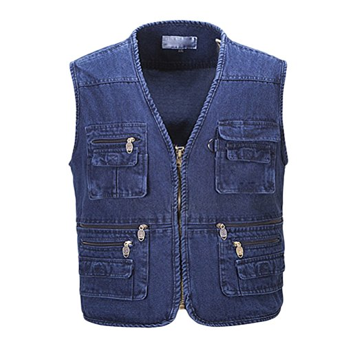 Waistcoat Day Multipocket Father's Mens Azul Outdoor Buena Denim for Working Vest Fishing tela Gift Zhhlaixing qIzOx