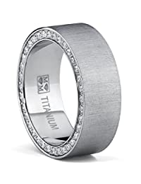 Titanium Men's Brushed Wedding Band Ring with Cubic Zirconia, Two Row Pave Set Eternity Ring