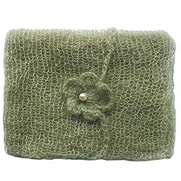 iEFiEL Newborn Baby Photography Prop Mohair Crochet Knit Wrap Blanket with Flower Headdress Headband (Army Green)
