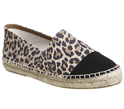 Büro Leopard schwarzer Zehenkappe glücklicher mit Espadrilles SqHxS8r
