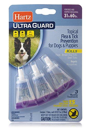 Hartz UltraGuard Flea & Tick Drops for Dogs & Puppies 31-60lbs – 3 Monthly Treatment