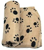 WZYuan  Puppy Blanket Paw Prints Pet Cushion Small Dog Cat Bed Soft Warm Sleep Mat, Small, Beige