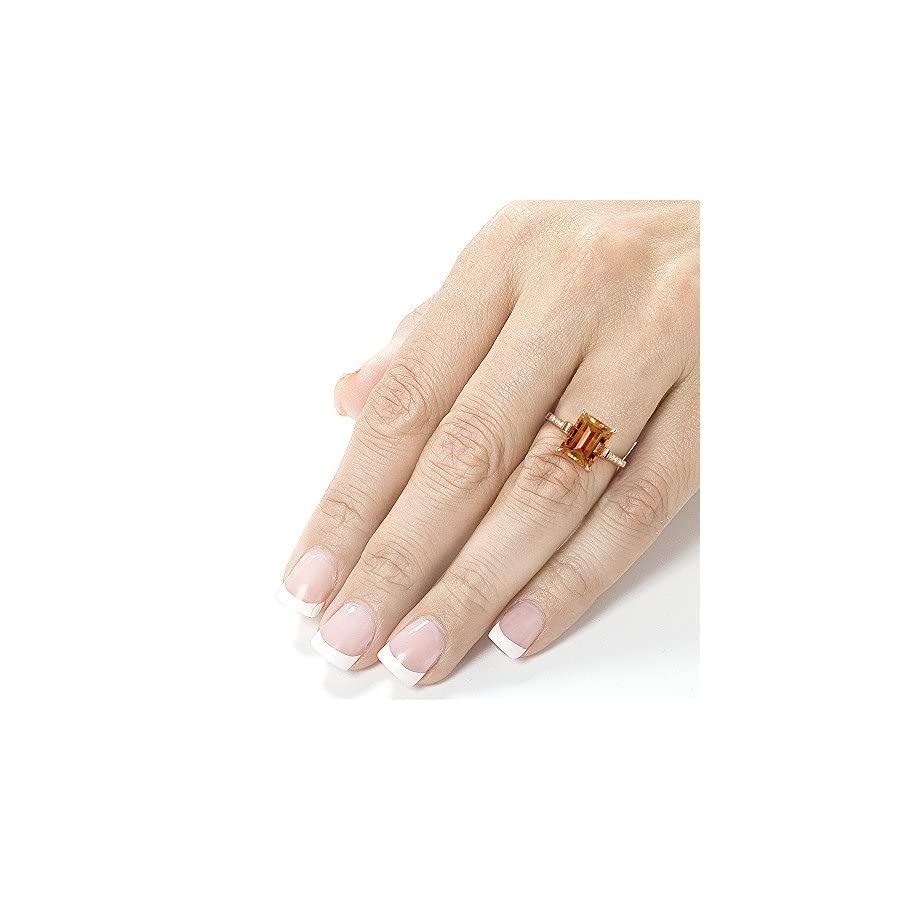 Kobelli Emerald cut Orange Citrine Diamond Ring 2 5/8 Carat (ctw) in Silver 14K Gold Plating
