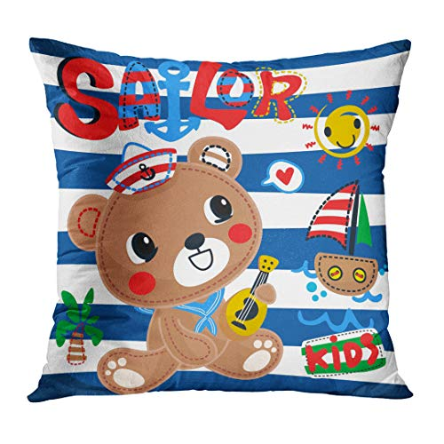 Sitting Bear Case - DTTOT Throw Pillow Cover Cute Cartoon Teddy Bear Playing Guitar in Sailor Costume Sitting on Blue and White Striped Decorative Pillow Case Home Decor Square 18x18 inches Pillowcase