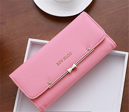 Leather Simple LIZHIGU Holder Clutch Small Envelope Women 5m647 Card Wallet Pink Purse IOOw4Cxq