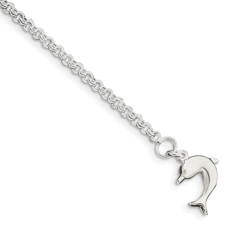 Sterling Silver 9inch Hollow Polished 3-Dimensional Dolphin Anklet