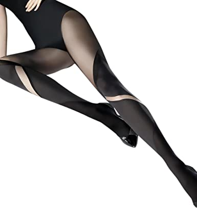 eacd4a6dacb Ladies Elegant Black Opaque Block Colour Large Sheer Swirl Print Tights   Amazon.co.uk  Clothing