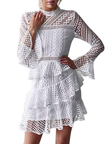 SUNJIN ARCO Women's Long Sleeve Hollow Out Lace Flare Sleeve Ruffle Mini Dress Party Wedding (White,0/2)