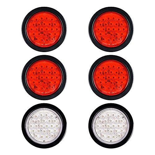 (6pcs (4 White + 2 Red) 24-LED 4