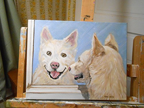 (Custom Dog Portrait, Pet Painting, Oil Painting on Canvas from your photos by artist Robin Zebley)