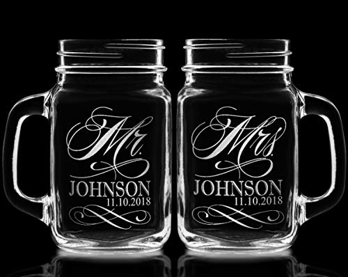 Stocking Factory Custom Etched Mr. Mrs. Personalized Mason Mugs, Set of 2, Clear by Custom-Engraved-Glasses-by-StockingFactory (Image #5)