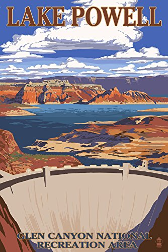 Lake Powell Dam View (9x12 Art Print, Wall Decor Travel Poster) (Lake Powell Print)