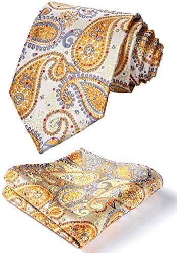 HISDERN Men's Paisley Dot Wedding Silk Neck Tie and Pocket Square Set