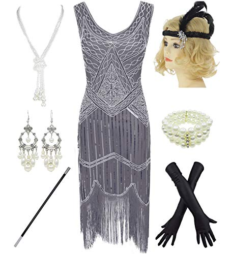 1920s Gatsby Sequin Fringed Paisley Flapper Dress with 20s Accessories Set (XXL, Grey)]()