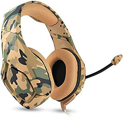 Docooler ONIKUMA K1 Auriculares de Juegos de 3,5 mm con Micrófono Estéreo Sonido con Reducción de Ruido para PC Nuevo Xbox Laptop DS PSP Camuflaje Amarillo