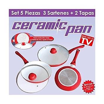 Set 3 Sartenes Cerámica 20CM, 24CM y 28CM-LUFTHOUS: Amazon ...