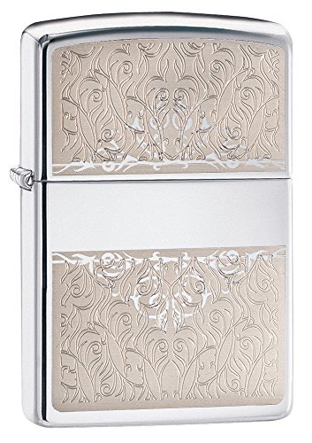 Zippo Scroll Design Pocket Lighter, High Polish Chrome